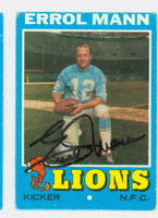 Errol Mann AUTOGRAPH 1971 Topps Football #247 Lions CARD IS G/VG: CRN WEAR, OC