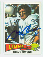 Steve Owens AUTOGRAPH 1975 Topps Football #333 Lions CARD IS VG/EX