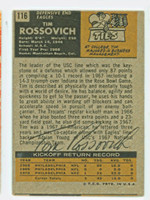 Tim Rossovich AUTOGRAPH 1971 Topps Football Back Signed #116 Eagles CARD IS G/VG: CRN WEAR, OC