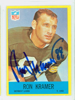 Ron Kramer AUTOGRAPH d.10 1967 Philadelphia #65 Lions CARD IS CLEAN VG/EX