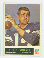 Earl Morrall AUTOGRAPH d.14 1965 Philadelphia #65 Lions CARD IS G/VG: CRN WEAR