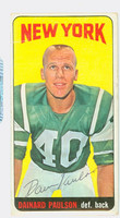 Dainard Paulson AUTOGRAPH 1965 Topps Football #123 Jets CARD IS F/G; HEAVY SURF WEAR