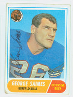 George Saimes AUTOGRAPH d.13 1968 Topps Football #201 Bills CARD IS F/G; LT CREASES