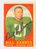 Bill Barnes AUTOGRAPH d.09 1958 Topps Football #4 Eagles CARD IS POOR; CREASES