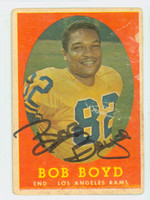Bob Boyd AUTOGRAPH d.09 1958 Topps Football #21 Rams CARD IS F/P; SURF WEAR, BACK DAMAGE