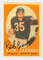 Rick Casares AUTOGRAPH d.13 1958 Topps Football #53 Bears CARD IS G/VG: HEAVY CRN WEAR