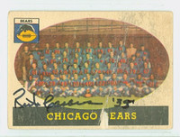 Rick Casares AUTOGRAPH d.13 1958 Topps Football #29 Bears Team Card CARD IS POOR; CREASES