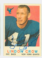 Lindon Crow AUTOGRAPH 1959 Topps Football #156 Giants CARD IS VG; AUTO CLEAN  [SKU:CrowL50362_T59FB]