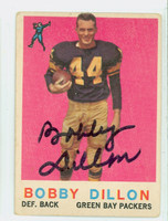 Bobby Dillon AUTOGRAPH 1959 Topps Football #12 Packers CARD IS G/VG: CRN WEAR