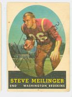 Steve Meilinger AUTOGRAPH d.15 1958 Topps Football #33 Redskins CARD IS POOR, MULTIPLE PINHOLES