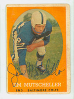 Jim Mutscheller AUTOGRAPH d.15 1958 Topps Football #14 Colts CARD IS F/P; SURF WEAR, CREASES