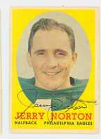 Jerry Norton AUTOGRAPH 1958 Topps Football #40 Eagles CARD IS G/VG: CRN WEAR
