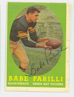 Babe Parilli AUTOGRAPH 1958 Topps Football #118 Packers CARD IS VG; OC