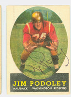 Jim Podoley AUTOGRAPH d.10 1958 Topps Football #121 Redskins CARD IS G/VG: HEAVY CRN WEAR