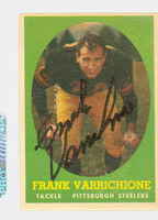 Frank Varrichione AUTOGRAPH 1958 Topps Football #77 Steelers CARD IS F/G; LT CREASES, AUTO CLEAN