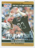 Ted Hendricks AUTOGRAPH 1990 Pro Set HOF Selection Raiders HOF '90 