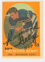 Raymond Berry AUTOGRAPH 1958 Topps Football #120 Colts HOF '73 CARD IS VG; MISCUT OC