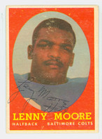 Lenny Moore AUTOGRAPH 1958 Topps Football #100 Colts HOF '75 CARD IS VG/EX, LT SURF WEAR