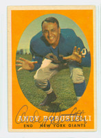 Andy Robustelli AUTOGRAPH d.11 1958 Topps Football #147 Giants HOF '71 CARD IS VG; CRN WEAR, AUTO CLEAN