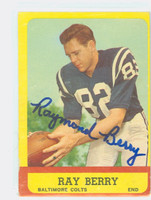 Raymond Berry AUTOGRAPH 1963 Topps Football #4 Colts HOF '73 CARD IS G/VG; CRN DING, OC