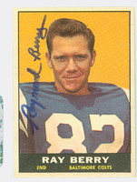 Raymond Berry AUTOGRAPH 1961 Topps Football #4 Colts HOF '73 CARD IS G/VG; SURF WEAR
