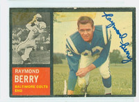 Raymond Berry AUTOGRAPH 1962 Topps Football #5 Colts HOF '73 CARD IS POOR, TAPE ON CARD, AUTO CLEAN  [SKU:BerrR50119_T62FB]