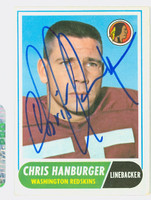 Chris Hanburger AUTOGRAPH 1968 Topps Football #62 Redskins HOF '11 CARD IS CLEAN VG/EX; LT CRN WEAR