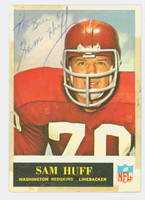 Sam Huff AUTOGRAPH 1965 Philadelphia #187 Redskins HOF '82 CARD IS POOR, TAPE ON BINDING; PERS