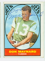Don Maynard AUTOGRAPH 1967 Topps Football #97 Jets HOF '87 CARD IS VG; CRN WEAR, AUTO CLEAN