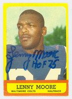Lenny Moore AUTOGRAPH 1963 Topps Football #2 Colts HOF '75 CARD IS G/VG; WAX, SL BEND