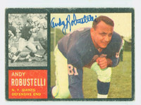 Andy Robustelli AUTOGRAPH d.11 1962 Topps Football#108  Giants HOF '71 CARD IS VG; CRN WEAR, AUTO CLEAN  [SKU:RobuA51466_T62FB]