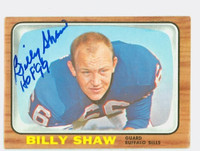 Billy Shaw AUTOGRAPH 1966 Topps Football #29 Bills HOF '99 CARD IS VG; EDGE WEAR, AUTO CLEAN