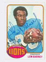 Lem Barney AUTOGRAPH 1976 Topps Football #43 Lions HOF '92 CARD IS CLEAN EX