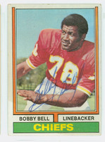 Bobby Bell AUTOGRAPH 1974 Topps Football #59 Chiefs HOF '83 CARD IS VG; AUTO CLEAN  [SKU:BellB50109_T74FB]