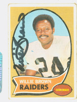 Willie Brown AUTOGRAPH 1970 Topps Football #144 Raiders HOF '84 CARD IS F/P; CREASE