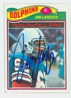 Jim Langer AUTOGRAPH 1977 Topps Football #390 Dolphins HOF '87 CARD IS VG; CRN WEAR