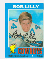 Bob Lilly AUTOGRAPH 1971 Topps Football #144 Cowboys HOF '80 CARD IS G/VG; MISCUT OC; AUTO CLEAN