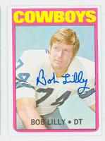 Bob Lilly AUTOGRAPH 1972 Topps Football #145 Cowboys HOF '80 CARD IS CLEAN EXMT