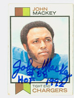 John Mackey AUTOGRAPH d.11 1973 Topps Football #118 Chargers HOF '92 CARD IS VG; CRN WEAR