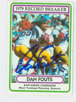 Dan Fouts AUTOGRAPH 1980 Topps Football #3 Record Breaker Chargers HOF '93 CARD IS G/VG; SL BEND