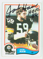Jack Ham AUTOGRAPH 1982 Topps Football #210 Steelers HOF '88 CARD IS CLEAN VG/EX