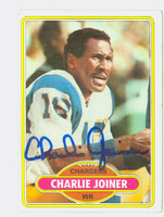 Charlie Joiner AUTOGRAPH 1980 Topps Football #28 Chargers HOF '96 CARD IS G/VG; CRN DING  [SKU:JoinC52069_T80FB]