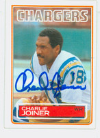 Charlie Joiner AUTOGRAPH 1983 Topps Football #377 Chargers HOF '96 CARD IS SHARP EXMT  [SKU:JoinC52069_T83FB]