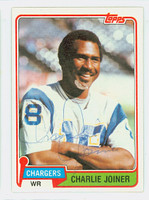 Charlie Joiner AUTOGRAPH 1981 Topps Football #496 Chargers HOF '96 CARD IS CLEAN EXMT