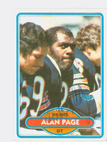 Alan Page AUTOGRAPH 1980 Topps Football #205 Bears HOF '88 CARD IS CLEAN EX