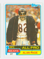 Alan Page AUTOGRAPH 1981 Topps Football #160 Bears HOF '88 CARD IS CLEAN EX/MT  [SKU:PageA51300_T81FB]