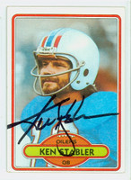 Ken Stabler AUTOGRAPH d.15 1980 Topps Football #65 Oilers HOF '16 CARD IS VG/EX; CRN WEAR, AUTO CLEAN