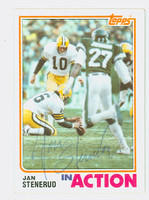 Jan Stenerud AUTOGRAPH 1982 Topps Football #367 In Action Packers HOF '91 CARD IS CLEAN EX