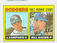 Bill Singer AUTOGRAPH 1967 Topps #12 Dodgers ROOKIE CARD IS VG; CRN DING OW CLEAN