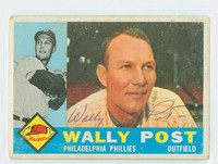 Wally Post AUTOGRAPH d.82 1960 Topps #13 Phillies CARD IS G/VG; RND CORNERS [SKU:PostW36_T60BB]